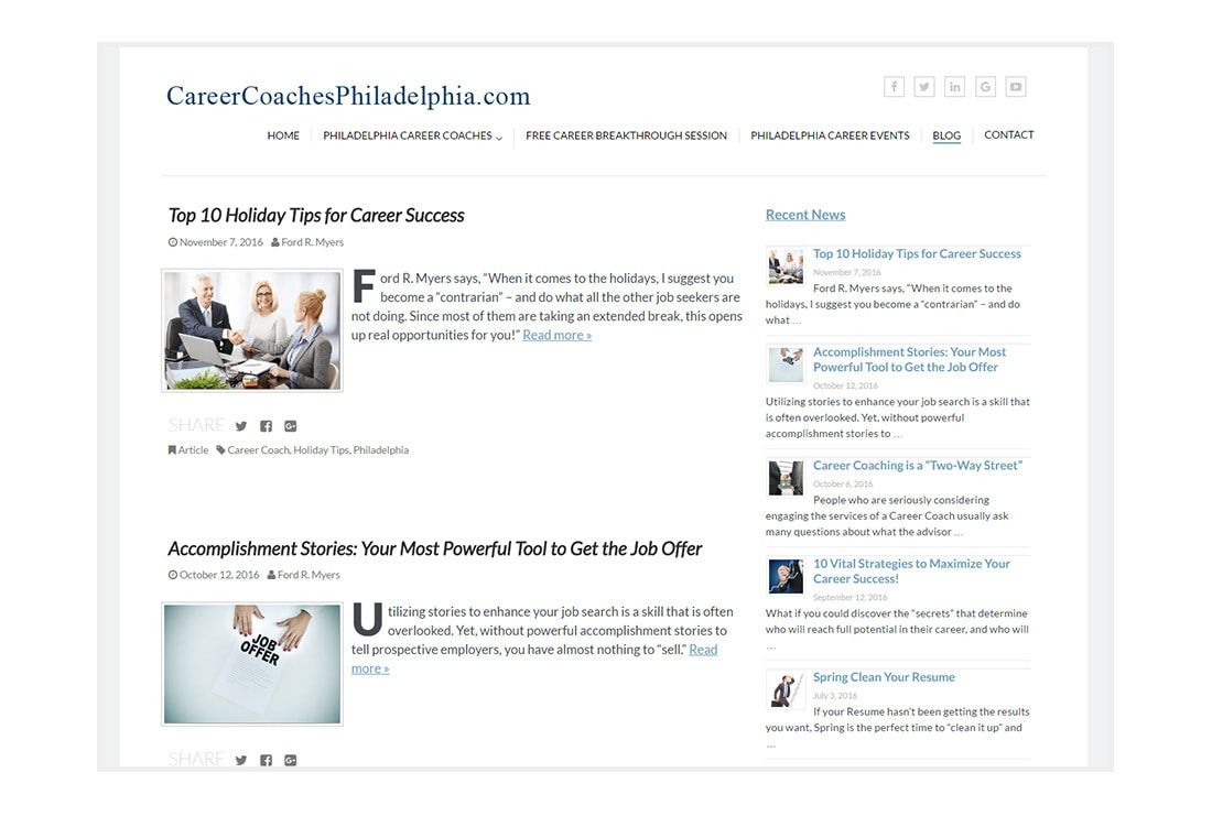 Career Coaches Philadelphia Blog - custom WordPress Theme