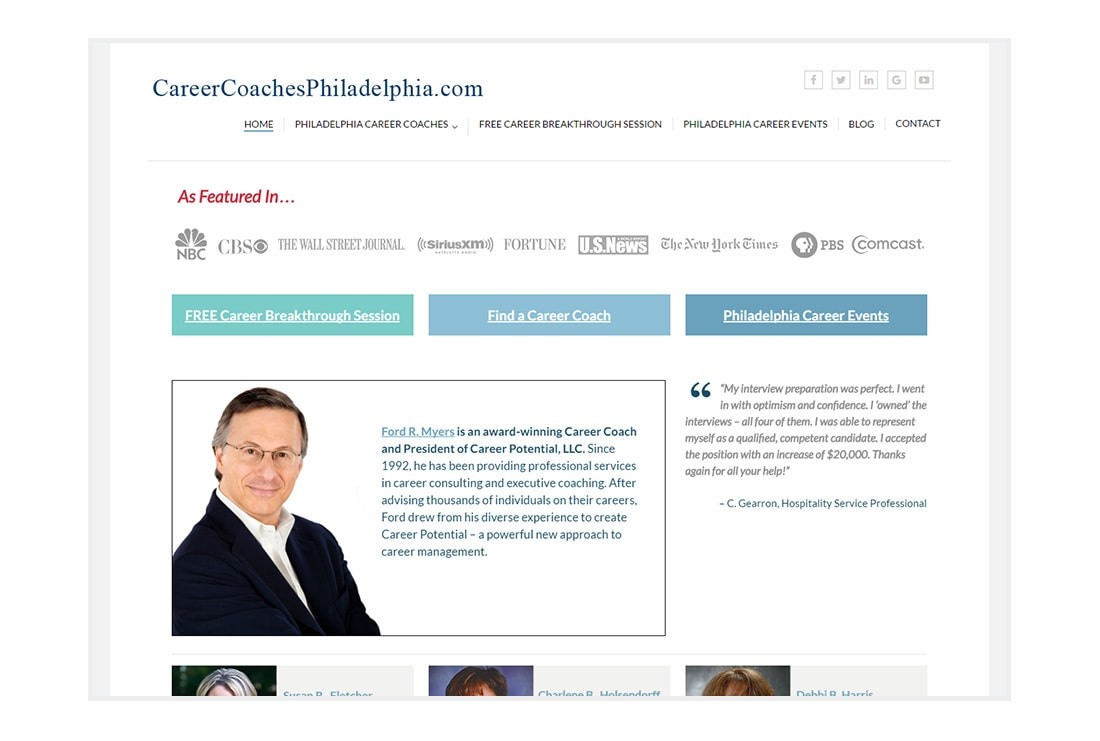 Career Coaches Philadelphia front - custom WordPress Theme