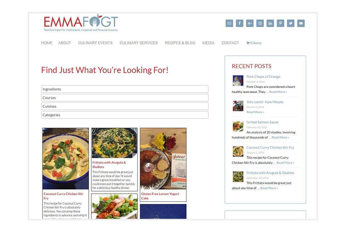 Emma Fogt Recipes - customized WordPress Theme