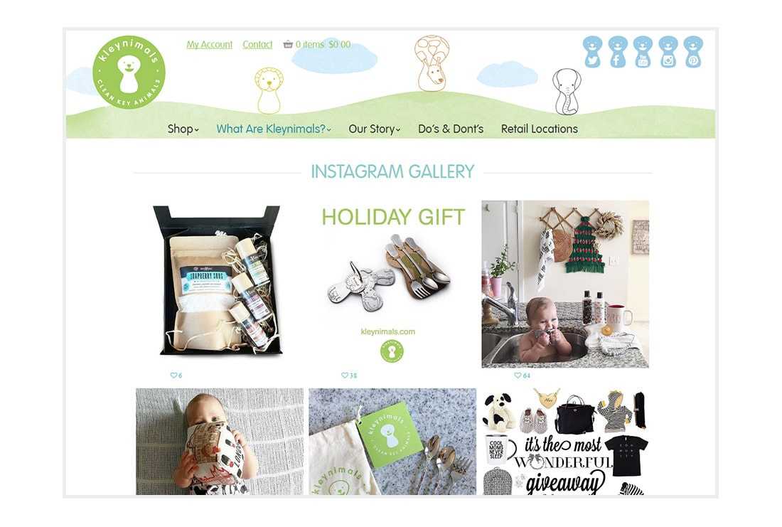 Kleynimals Website Instagram gallery page - Custom WordPress Theme