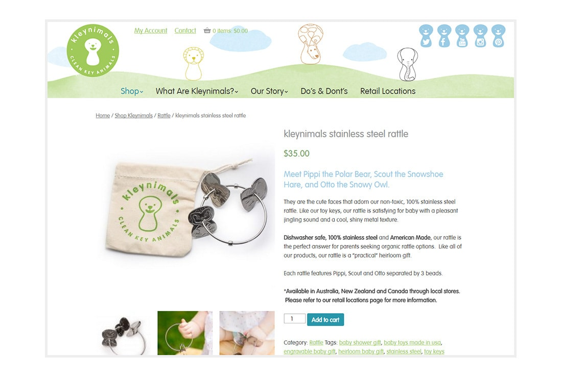 Kleynimals Website product page - Custom WordPress Theme