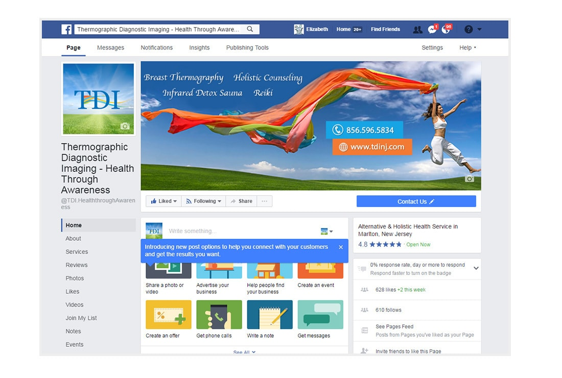 TDI HTA Facebook page - Custom Responsive WordPress theme