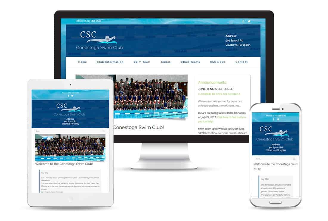 Conestoga Swim Club views - Customized Responsive WordPress theme