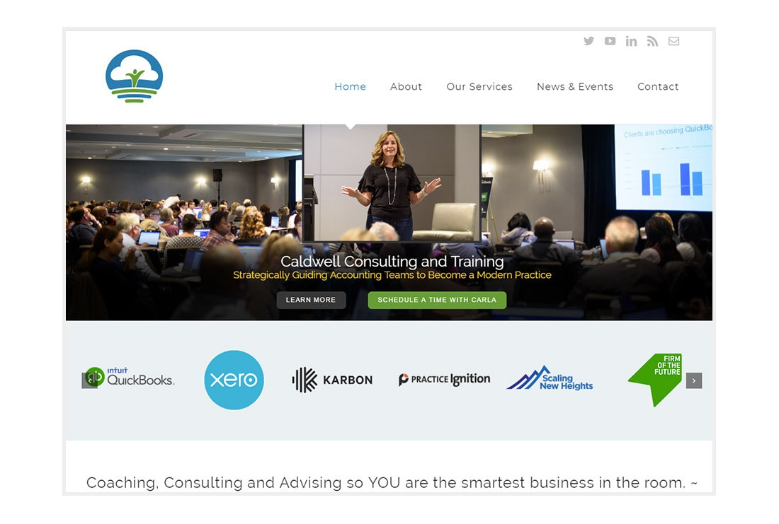 Caldwell Consulting and Training. Homepage - customized WordPress website.