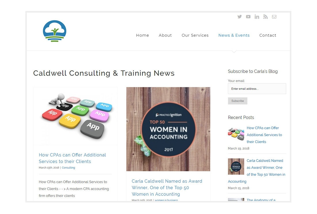 Caldwell Consulting and Training. Blog view - customized WordPress website.