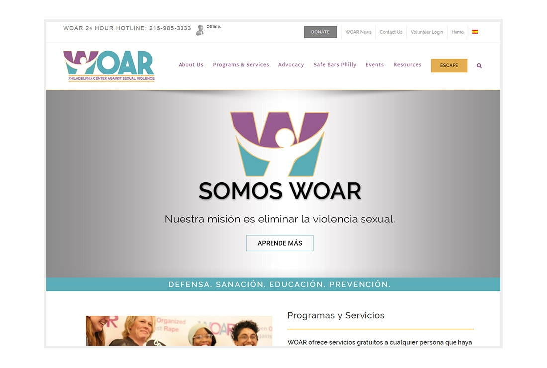WOAR homepage - Español